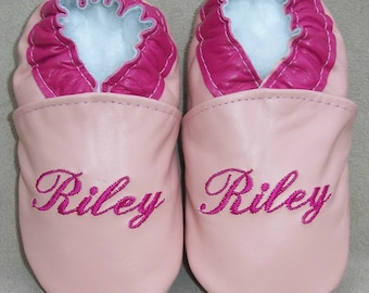 Monogrammed soft sole leather baby shoes