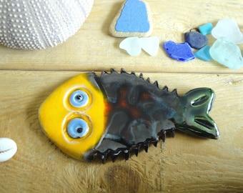 decorative fish glazed ceramic - Rainbow fish for decoration-art ceramic art tile