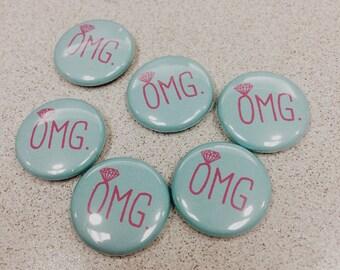 mini OMG bachelorette party pins
