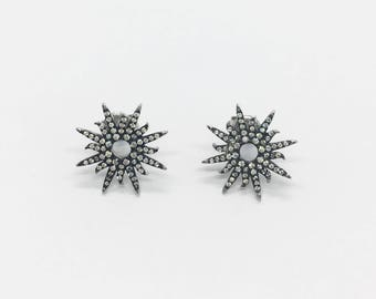 Sterling Silver  Sunburst Earrings Silver/Black