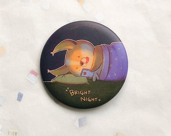 Bright Night pin, 56mm badge, cute button, dog, welsh corgi, animal, nori, bedtime, phone, kawaii