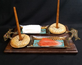 Vtg Bagel Lox and Cream Cheese Tray Glass Dishes Wooden Spindles Made in Majorca FOOD NOT INCLUDED