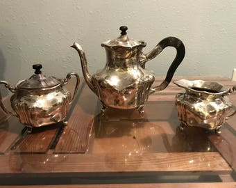 Vintage 1880 - 1920 Barbour Silver Company Tea Set with wooden handles and lids