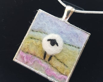 Hand Felted and embroidered Sheep Pendant - sheep jewellery - felted sheep in a silver plated bezel with chain