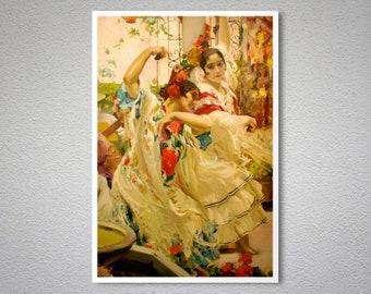 Flamenco Dancers by Joaquin Sorolla y Bastida - Poster Paper, Sticker or Canvas Print / Gift Idea