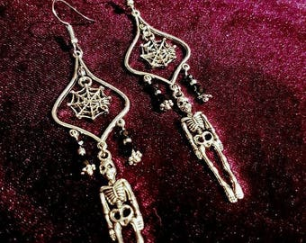 Skeleton Earrings With Cobweb - gothic skeleton skull cobweb spider spiderweb vampire