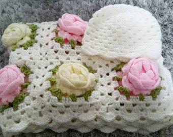 3D rose crochet baby shawl blanket