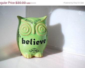 owl decor  spring green BELIEVE