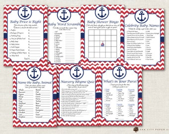 Nautical Baby Shower Games - Nautical Shower Games, Beach Baby Shower Games, Sailor Baby Shower Games, Anchor Baby Shower, Beach Baby Games