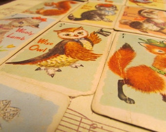 Vintage Animal Rummy Playing Cards- Set of 10