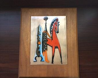 Judith Daner Enamel and Copper Horse Art, Teak Modern Frame Vintage Painting Mid Century Modern Artist