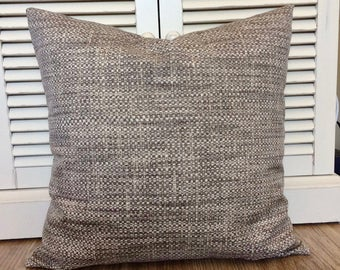 Coastal Pillows Gray Brown Pillow, Indoor Outdoor Throw Pillow Cushion Cover, Grey Beige Decor Beach House, Lumbar Accent Pillow Cottage