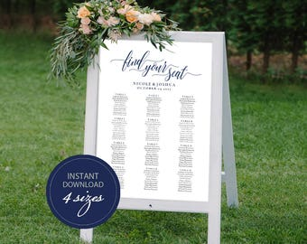 Editable PDF Seating Chart Navy Color Wedding Seating Chart Template DIY Seating Board Table Find Your Seat Printable Sign #DP120_01