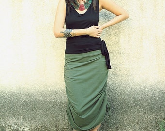 Green Skirt, Adjustable Skirt, Women Midi Skirt, Jersey skirt, Convertible Skirt