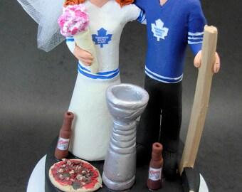 Toronto Maple Leaf's Hockey Wedding Cake Topper, Hockey Wedding Cake Topper, Stanley Cup Wedding Cake Topper, Hockey Wedding Figurine
