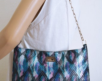 XOXO Faux Leather purse,Snakeskin Purse, Shoulder Bag,blue,purple,gray,black,bag