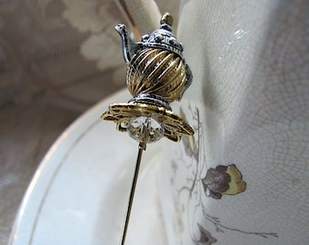 Take Some More Tea Wonderland Victorian Hatpin