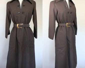 1970's brown dress w matching belt - dress w pockets - long sleeve dress - medium dress - size 8 dress - mid calf length - pointed collar