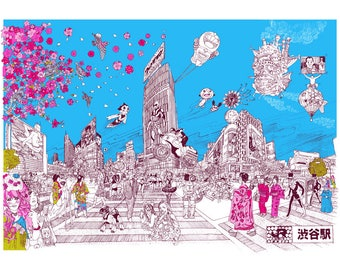 Tokyo illustration print artwork gift, A4, A3 or A2 Signed QueenKwak 'City Celebration' original Japan, Japanese art picture poster present.