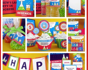 Science Birthday Party Pack, Self Editable, INSTANT DOWNLOAD, Party Printable, Digital PDF Files, Party Decorations, Science Template