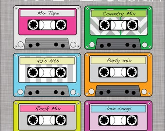 Cassette tape clipart, 6 PNG files, Transparent background, 300 dpi resolution. Buy 2 Get 1 Free!