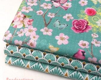 3 cut Fat Quarter 50 cm x 50 cm - cherry blossoms Japanese fabric, turquoise scales, turquoise fan
