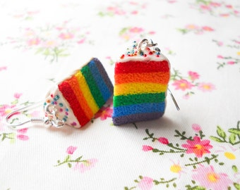 Rainbow Cake Earrings, Cake Slice Earrings, Cake Earrings, Miniature Food Earrings, Dessert Earrings, Food Earrings, Rainbow Cake, Lolita