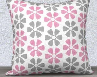 Pink and Gray Pillow, Pink and Gray Pillow Cover, Pink and Gray Accent Pillow, Pink and Gray Throw Pillow, Pink Lumbar, 14x20, Velveteen