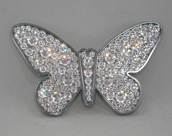Butterfly Chrome Emblem Decal Luxury Car sticker w Genuine Swarovski Crystals Elements Artisan made in USA for your Car Truck SUV Motorcycle