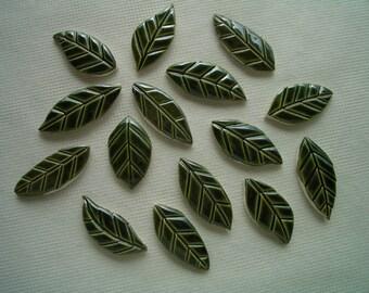 15DGL - 15 pc Dark GREEN LEAVES - Ceramic Mosaic Tiles