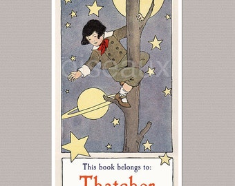 Personalized Bookplates - Star Catcher - Vintage Boy Bookplates, Baby Shower, First Library