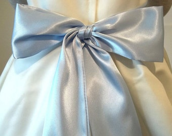 "Short BABY BLUE Bridal Sash Satin Sash Choose your length from 70"" up to 80"""