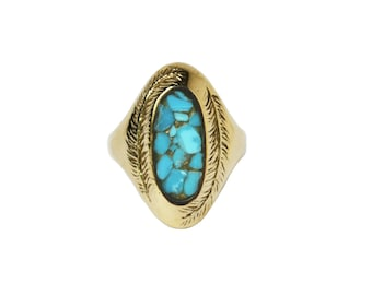 Paradise Ring with Turquoise, Turquoise Ring, Statement Ring, Boho Ring, Turquoise Inlay Ring, Chunky Turquoise Ring, Cocktail Ring