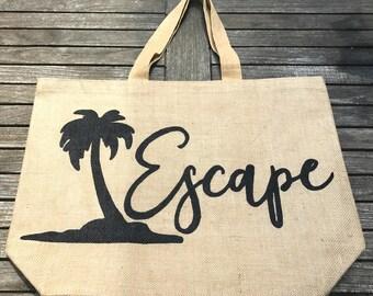 Escape Tote, Burlap Beach Tote, Burlap Tote Bag, Burlap Bag, Fun Burlap Bag, Large Tote, Everyday Bag, Large Tote, Large Burlap tote