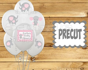 Baby girl Elephant Balloon Stickers Elephant Party favors cup stickers Tablecloth stickers Elephant Birthday stickers Precut Personalized