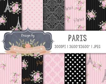 SALE Shabby Chic Paris, Paris digital paper, Paris Theme Patterns, Eiffel tower, Pink, Black, Roses, Glamour For Party, Baby shower paris