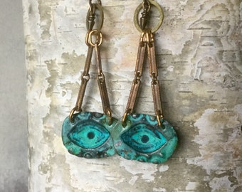 eye earrings, mixed metal jewelry, rustic jewelry, hammered brass hoops, verdigris patina, eyes, bohemian artisan jewelry, AnvilArtifacts