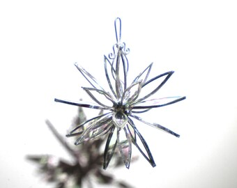 Winter-Dahlie - 3D Glasmalerei Blume Burst - kleine klar irisierend Suncatcher Haus Garten Dekor hängen Yard Art (sofort lieferbar)