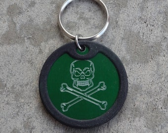 Skull and Crossbones Anodized Aluminum Keychain -  Pick your Color