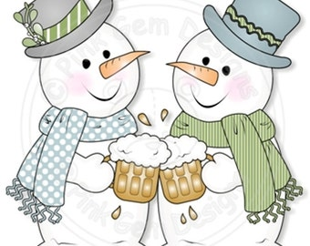 Digital (Digi) 'Cheers Chilly' Stamp.Snowman.Makes Cute Christmas Cards