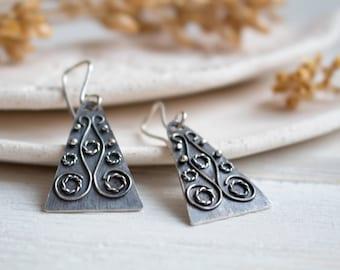 Silver earrings Boho earrings geometric jewelry ethnique earrings  dangle earrings silver Geometric earrings Sterling silver earrings