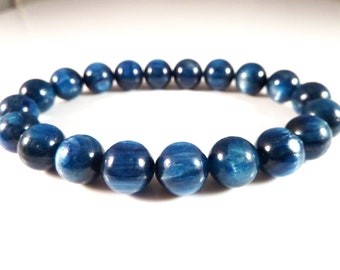 Blue Kyanite Stretch Bracelet 9mm Smooth Round High Vibration Superior Quality Gemstone Bead AAA Big Large Chunky