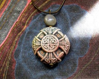 St Patrick's Day Celtic Cross, Celtic-Irish tribal jewelry-eternity knot design in ceramic pendant, forest green glaze. tagt agiftoflaughter