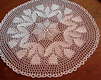 Crochet doily handmade 50 cm, white