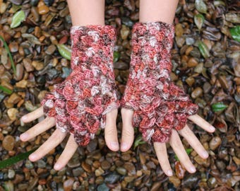 Fingerless 100% merino wool gloves, Malabrigo, crochet, OOAK, dragon gloves, hand warmers, men and women, no acrylic, dragon scale