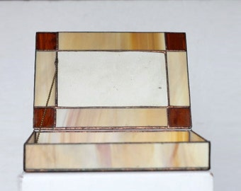 Vintage Handcrafted Stained Glass Earthy tones Box Mirrored Bottom ceramic insert plants relief sceleton