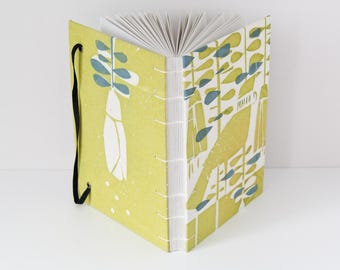 Notebook Journal - 144 Unlined Pages with Screen Print Tui Bird Fabric Cover - Great Summer Gift