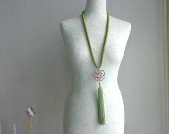 Chaki green long tassel necklace, flower tassel necklace, green long necklace