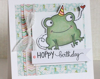 Digital stamp - Hoppy birthday jolly. digital stamp. frog stamp. birthday stamp. birthday pun. LiaStampz