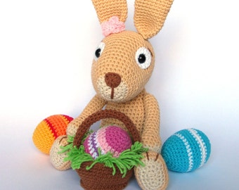 Easter Bunny with Easter Eggs Crochet Pattern / Amigurumi
